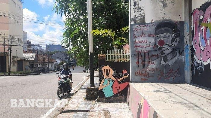GEGER Mural Jokowi di Pangkalpinang, Ditutup Masker, Hidung Badut dan Tanduk, Presiden: Sudah Biasa