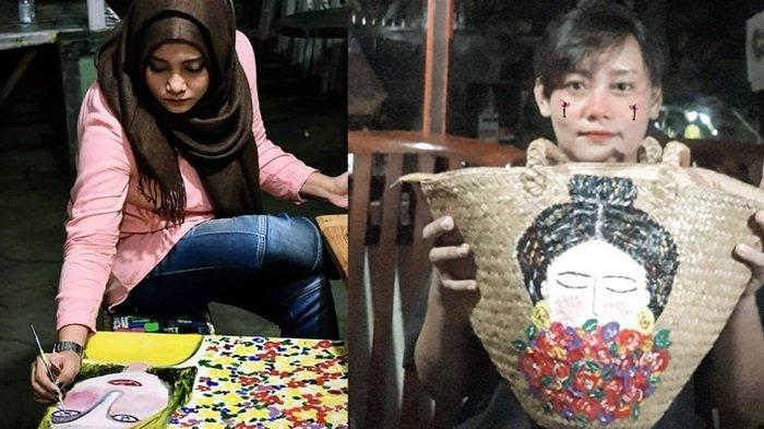 KalselPedia - Tas Purun Makin Artistik dengan Sentuhan Painting Bag, Penjualannya di Banjarbaru