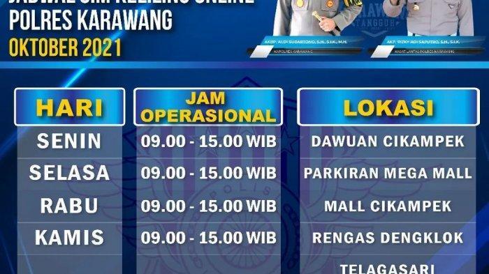 LAYANAN SIM KELILING Polres Karawang Kamis 14 Oktober 2021 di Rengas Dengklok dekat Terminal Lama