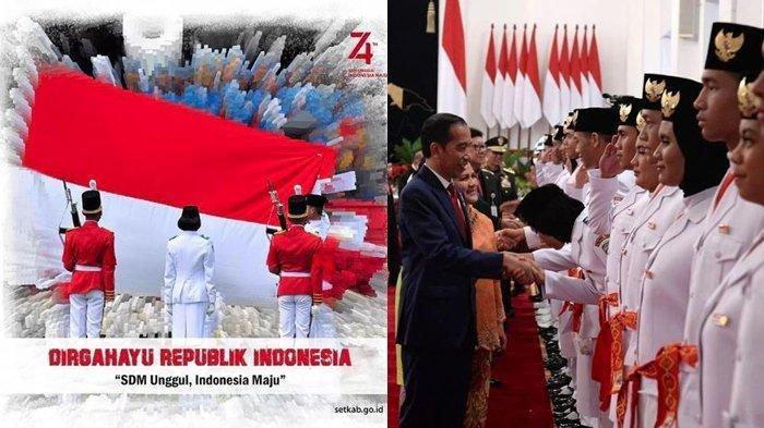 Formasi Tim Merah Pengibar Bendera Upacara HUT RI ke-74 di Istana Negara, Wakil Jateng Pembawa Baki