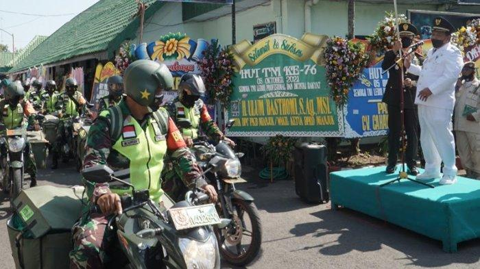 HUT ke-76 TNI, Kodim 0810/Nganjuk Kerahkan Babinsa Bagikan Bansos Untuk Warga Terdampak Covid-19