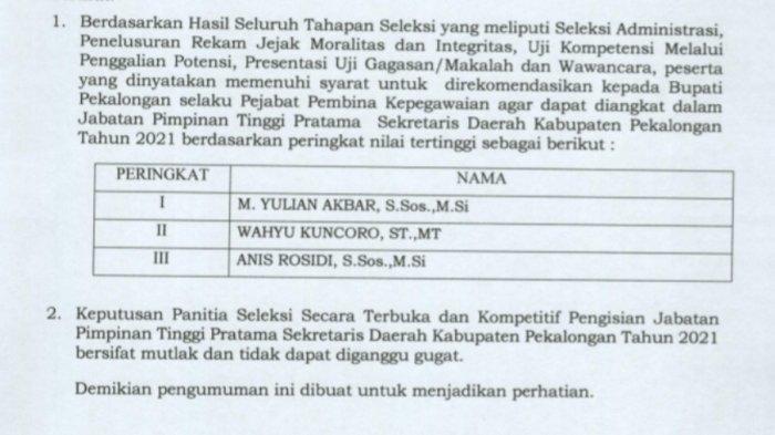 Tiga Pejabat Ini Jadi Kandidat Kuat Sekda Kabupaten Pekalongan, Berikut Daftarnya