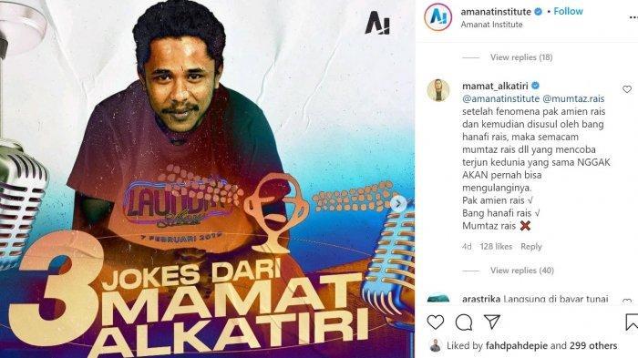 Komika Mamat Alkatiri 'Skak Mat' Mumtaz Rais, Netizen: Jleb . . . Tembus Hati, Bikin Ego Terkapar