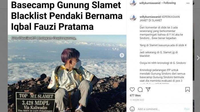 Prank Ranger Sindoro Demi Konten, Pendaki Asal Kebumen Diblacklist 5 Tahun Tak Boleh Naik Gunung