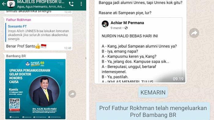 Setelah Kritik Gelar Kehormatan Dr HC Nurdin Halid, Prof BR Dikeluarkan dari WAG Profesor Unnes