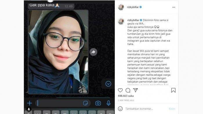 Unggahan Rizky Billar di media sosial yang memajang foto Lesti Kejora