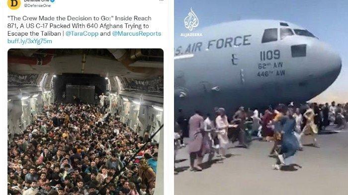 Viral Foto 640 Warga Afghanistan Jejali Pesawat Kargo AS setelah Negaranya Jatuh ke Tangan Taliban