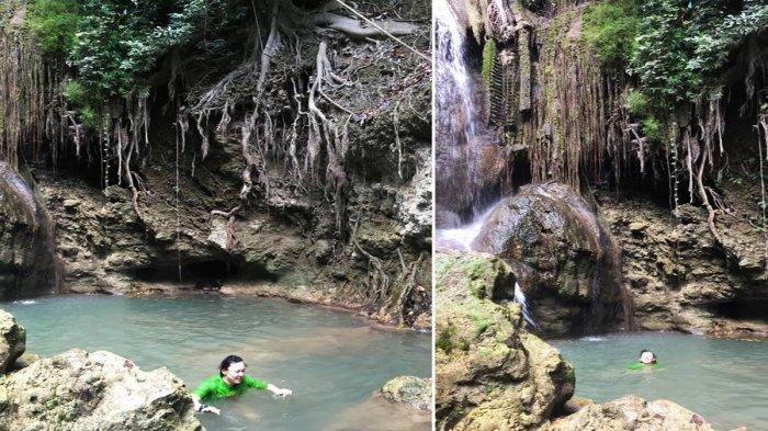 Salah satu spot air terjun di lokasi wisata air terjun Oenesu yang berada di Kelurahan Oenesu, Kecamatan Kupang Barat, Kota Kupang, Provinsi Nusa Tenggara Timur ( NTT ).