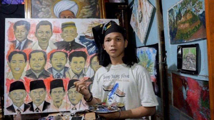 Aad Mandar, Pelukis Asal Campalagian Pamerkan Tokoh Pejuang di 'Litaq Pembolongan'