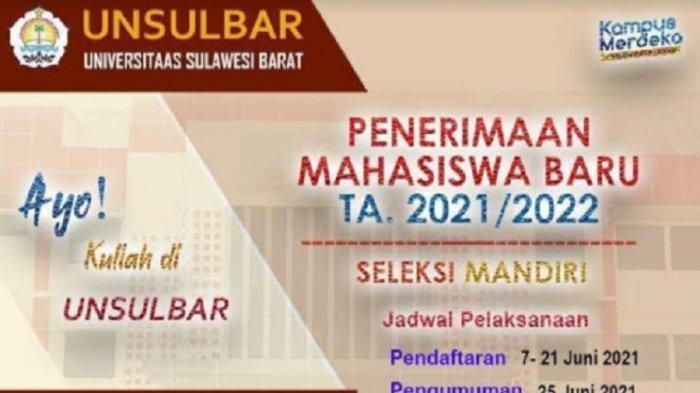 Alur dan Tata Cara Daftar Online Jalur Mandiri Universitas Sulawesi Barat, Kuota 848 Maba