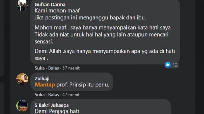 Balasan komen Prof Gufran Dirawan