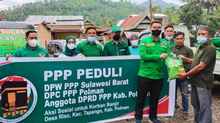 PPP Sulbar Salurkan Bantuan Untuk Korban Banjir Desa Riso Polman
