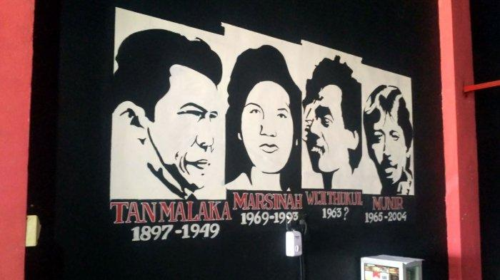 Gambar mural para pejuang kemerdekaan dan HAM di Warkop Kopi Merdeka