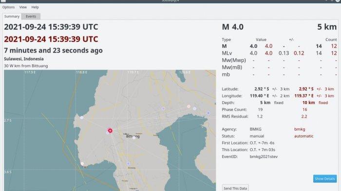 Gempa Beruntun Guncang Kabupaten Mamasa, Magnitudo 3.2 Disusul Magnitudo 4.0