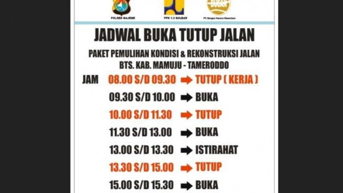Berikut Jadwal Resmi Buka Tutup Jalan Trans Sulawesi di Tubo Sendana Majene