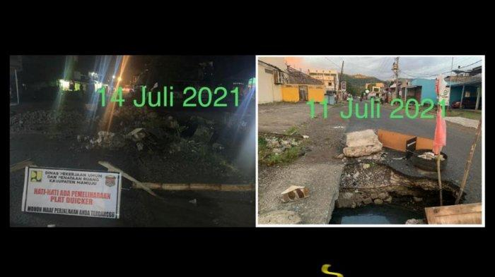 Terima Kasih Bu Bupati, Lubang Menganga di Jl Bau Masseppe Mamuju Akhirnya Ditambal