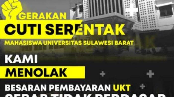 Tolak Pembayaran UKT! Mahasiswa Universitas Sulawesi Barat Serukan Aksi Cuti Serentak