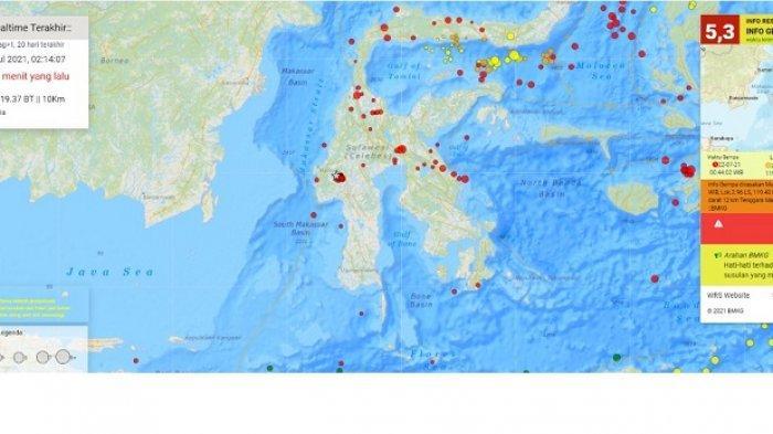 88 Kali Gempa Terjadi di Mamasa Sulbar 21 - 22 Juli 2021