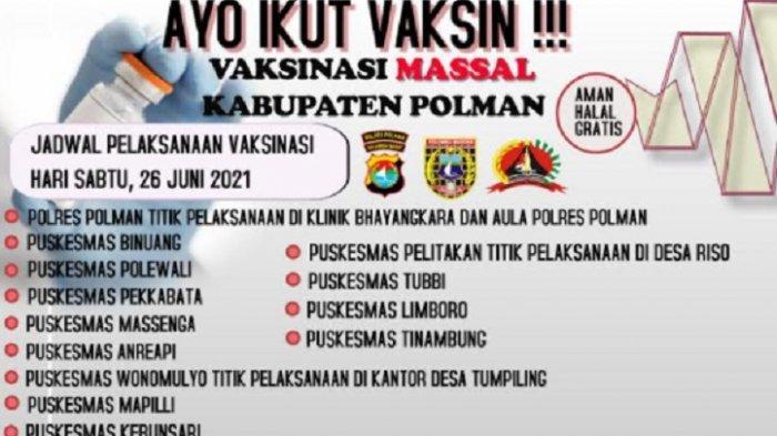 Polres Polman Gelar Vaksinasi Massal Besok, Sabtu 26 Juni 2021, Ini Lokasinya