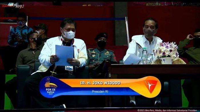 Airlangga Dampingi Presiden Jokowi Tinjau Arena Wushu PON XX Papua