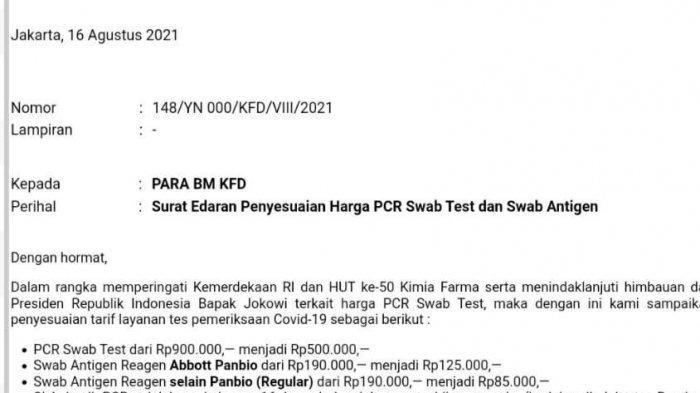 Surat edaran Kimia Farma Diagnostika tentang penyesuaian tarif Harga PCR