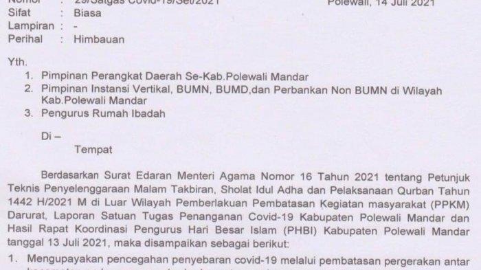 Covid-19 di Sulbar Capai 6.469 Kasus, Pemkab Polman Terbitkan Imbauan Shalat Idul Adha di Rumah