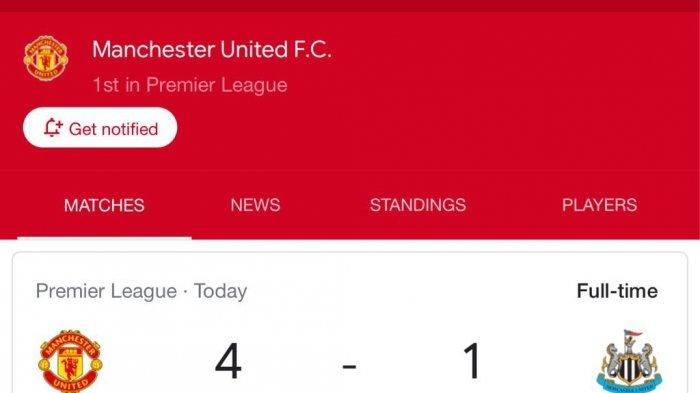 Tangkapan layar hasil pertandingan pekan ke-4 Liga Inggris