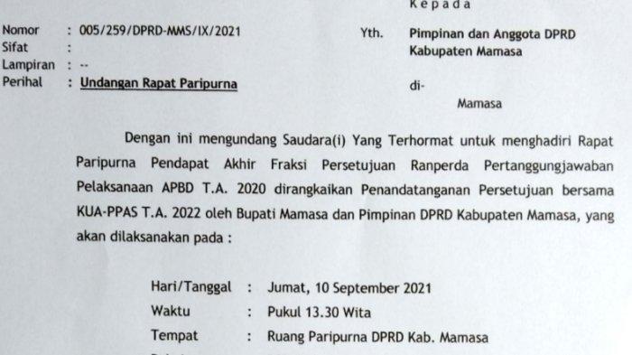 Undangan yang ditandatangani Ketua DPRD Mamasa, Orsan Soleman B