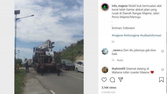 Truk Pengangkut Alat Berat Kandas di Jl Trans Sulawesi yang Berada di Rangas Majene, Ini Penyebabnya
