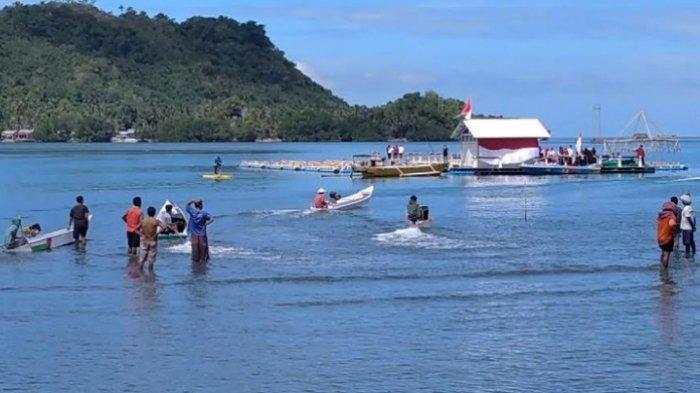 Meriahkan HUT RI ke-76, Nelayan di Desa Rea Polman Gelar Lomba Perahu
