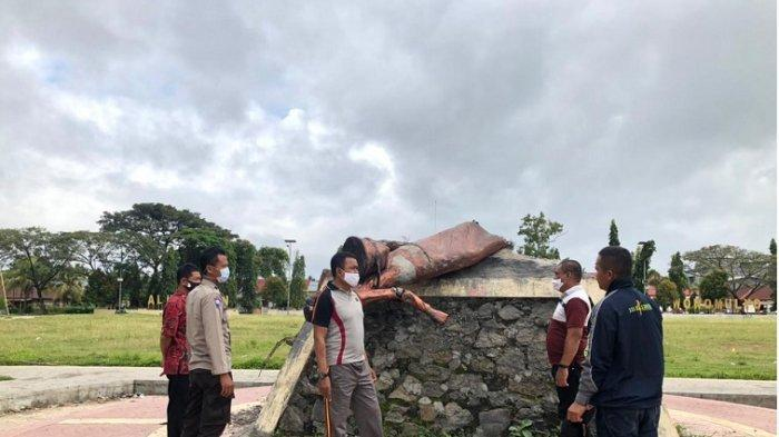 SIAPA Pelakunya? Polisi Datangi Lokasi Perusakan Patung Tani Wonomulyo Polman