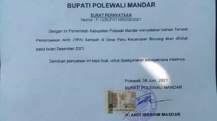 Bupati Polman Andi Ibrahim Masdar Pilih Tutup TPA Paku Mulai Desember