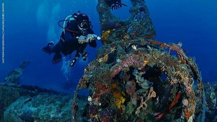 Koleksi bangkai pesawat tempur di museum bawah laut Pulau Morotai