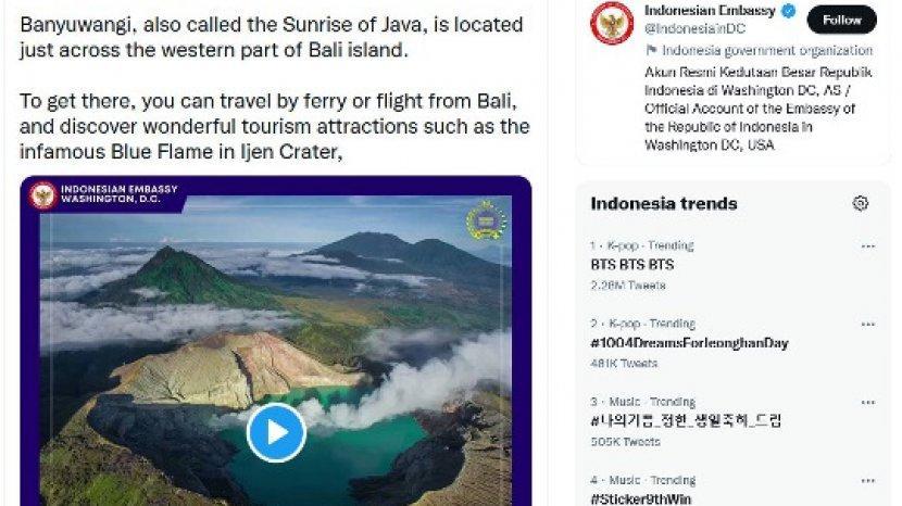 Kedutaan RI di Berbagai Negara Ramai-Ramai Promosikan Keindahan Pariwisata Banyuwangi
