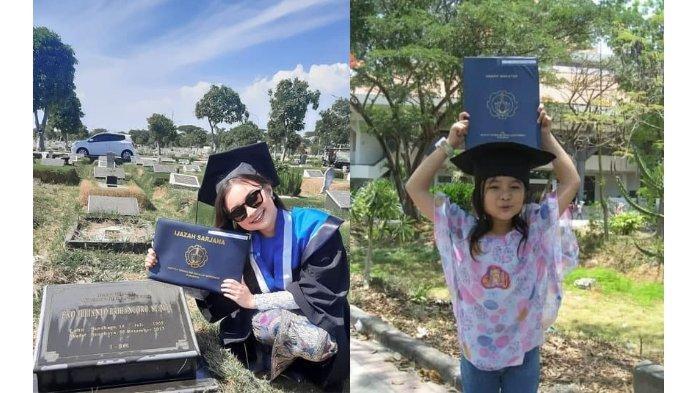 Nadhifa Laudza Shabrina Rayakan Momen Kelulusan Di Makam Ayahnya