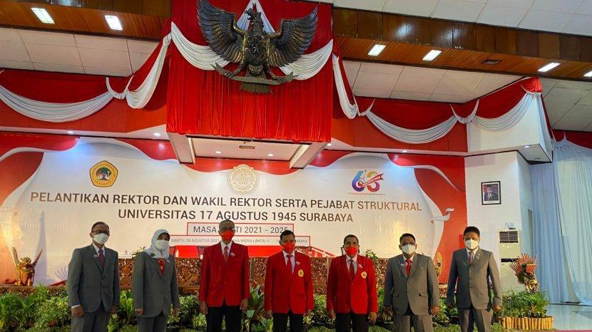Rektor, Wakil Rektor dan Pejabat Struktural Untag Surabaya periode 2021-2025 Dilantik Secara Hybrid