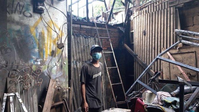 Kebakaran Melanda Mess Bengkel Las Listrik Madu Jaya di Pasar Sipon Cipondoh Kota Tangerang