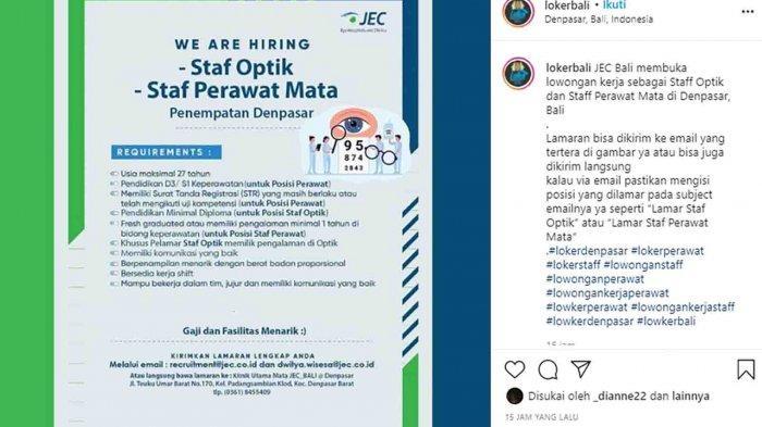 Lowongan Kerja di Denpasar, JEC Bali Membutuhkan Staf Optik dan Staf Perawat Mata
