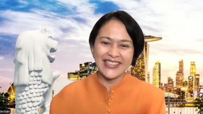 Sarah Sechan dalam  jumpa pers virtual peluncuran Mie Sedap Laksa Singapura secara virtual, Selasa (6/7/2021)