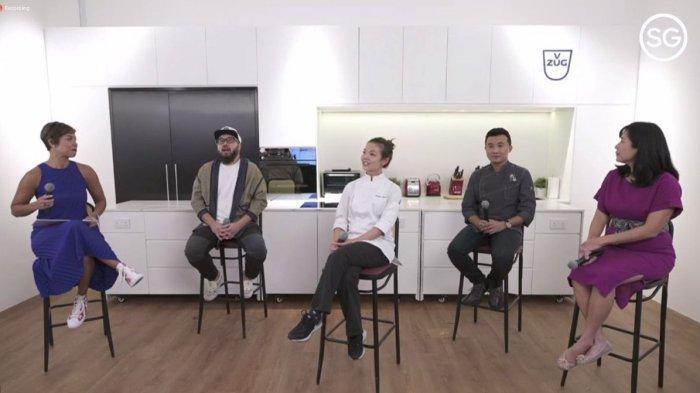 :(kanan-kiri) Serene Tan, Director of Retail and Dining, Singapore Tourism Board (STB), Chef Douglas Ng dari Fishball, Chef Maxine Ngooi dari Tiger Lily Patisserie, Chef Bjorn Shen dari Arthicoke, dan pembaca acara, Nikki Muller