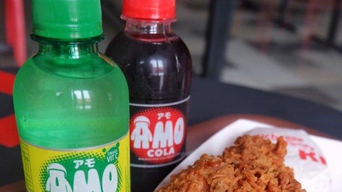 Sajian volcamo ramen chicken dan amo soft drink di 173 outlet Richeese Factory