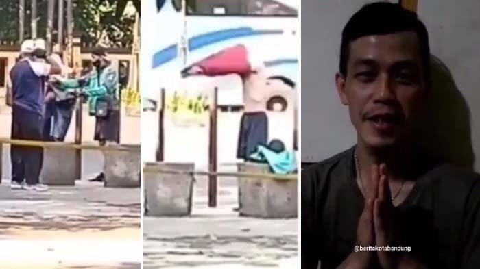 tangkapan layar saat Ari jalliludin memberikan baju kepada orang dengan gangguan jiwa di Taman Tegallega, Bandung