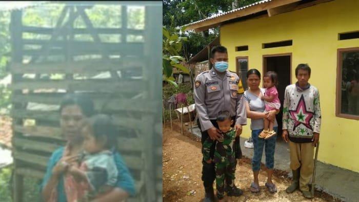 Brigadir Sugiarto (foto kanan) bersama keluarga Edo di rumah baru mereka di Desa Jampang Tengah, Kabupaten Sukabumi, Oktober 2020