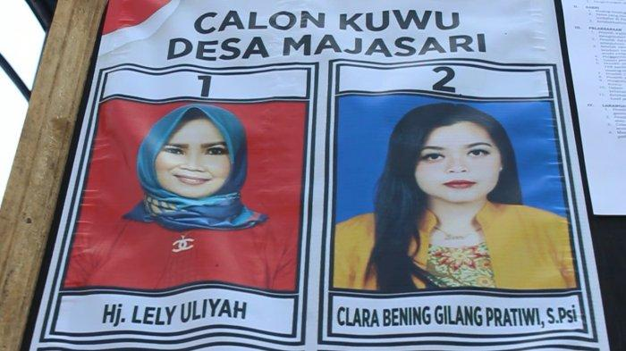 Baliho calon kepala desa (kuwu) Desa Majasari, Kecamatan Sliyeg, Kabupaten Indramayu, Lely Uliyah dan putrinya Clara Bening