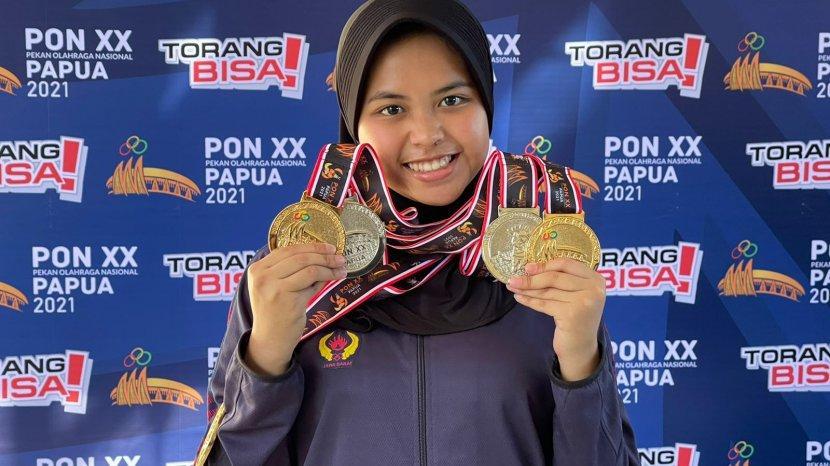 Dari Iseng Hingga Masuk Pelatnas, Audrey Meraih 3 Medali Emas dan 2 Perak Cabang Menembak PON XX
