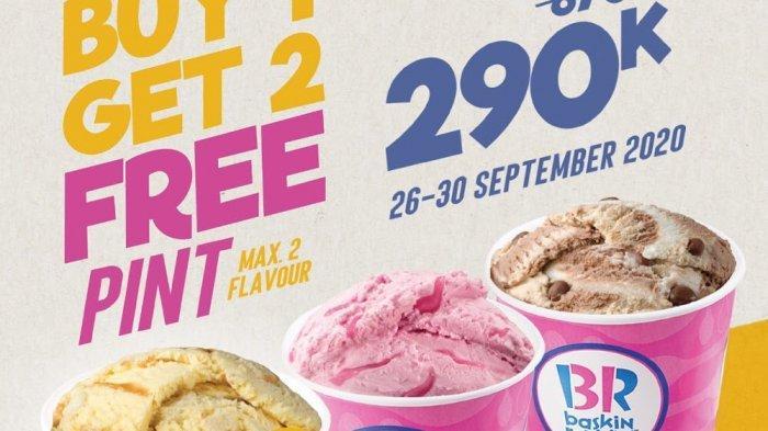 Beli 1 Gratis 2 Es Krim Kemasan Freshpack Pint di Baskin Robbins Hingga 30 September 2020