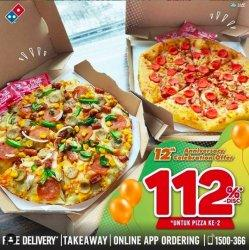 Rayakan Hari Jadi Ke-12, Domino's Pizza Berikan Diskon Pizza 112% Untuk Pembelian Kedua