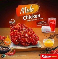 Ayam Lumuran Mala Sauce Seharga Rp 20 Ribu Atau Rp 36 Ribu Untuk Paket Combo, Nasi, dan Minum