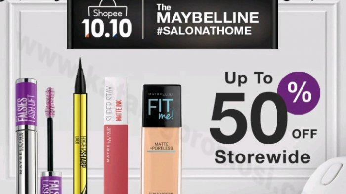 Shopee 10.10 Brands Festival 14 September-10 Oktober 2020, Dapatkan Diskon 50% Untuk Maybelline