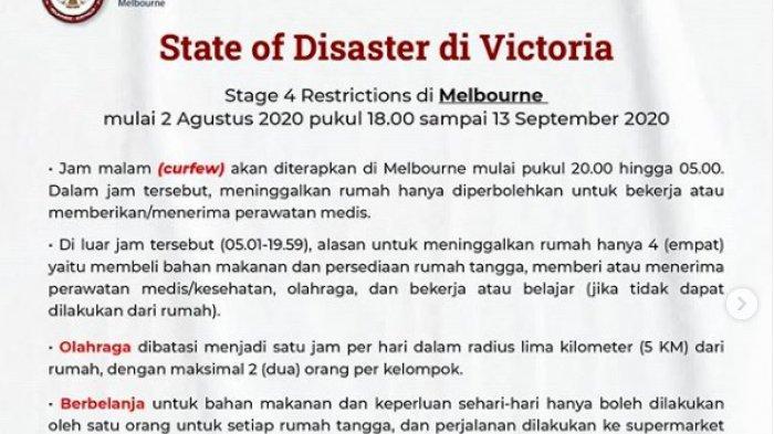 Pemberlakuan 'State of Disaster' di Victoria berlaku mulai 2 Agustus 2020-13 September 2020